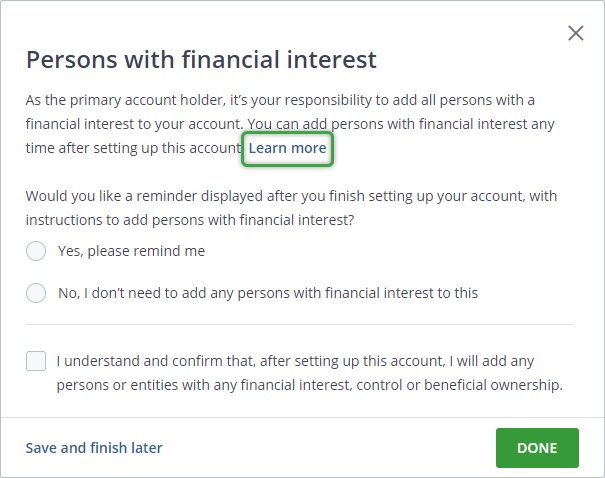 Persons with financial interest menu screenshot adding beneficiary authorized trader
