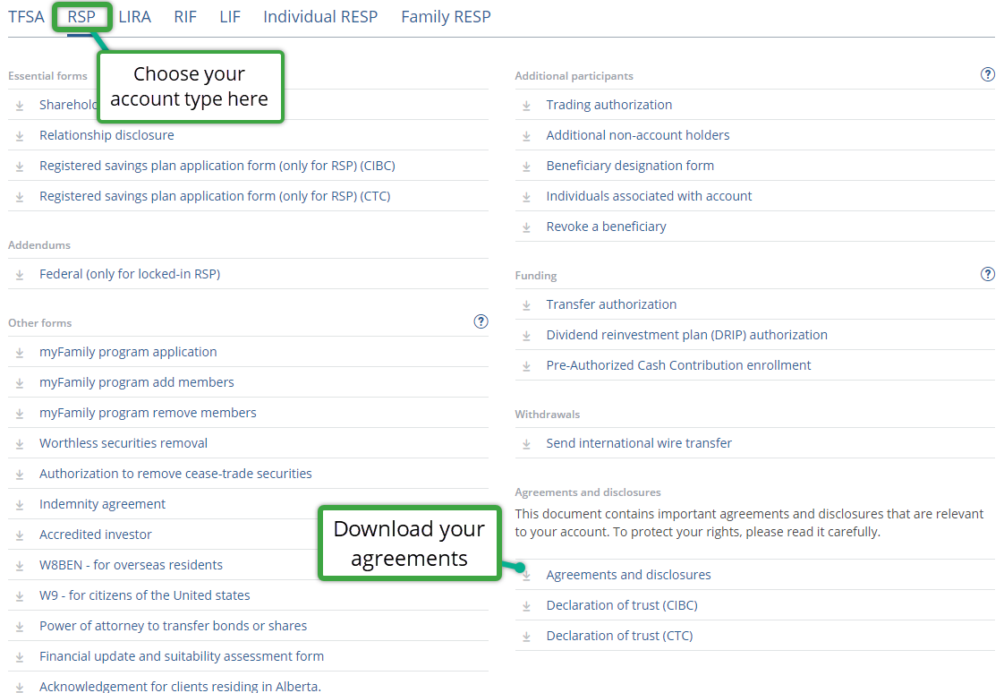 Find a form page screenshot account type at top highlighted