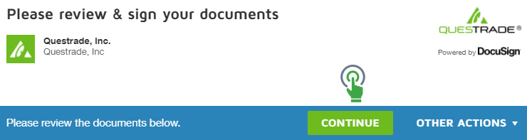 Docusign window top section green continue button