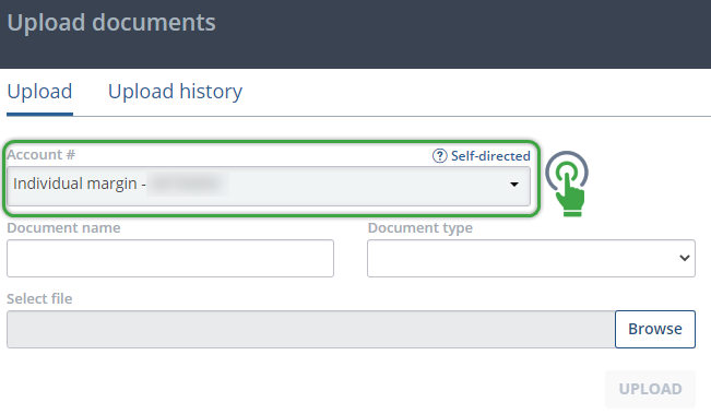 Upload documents page account selection menu