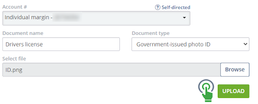 Completed upload documents page with prompt to click green upload button