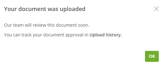 Upload confirmation popup prompt to click green OK button