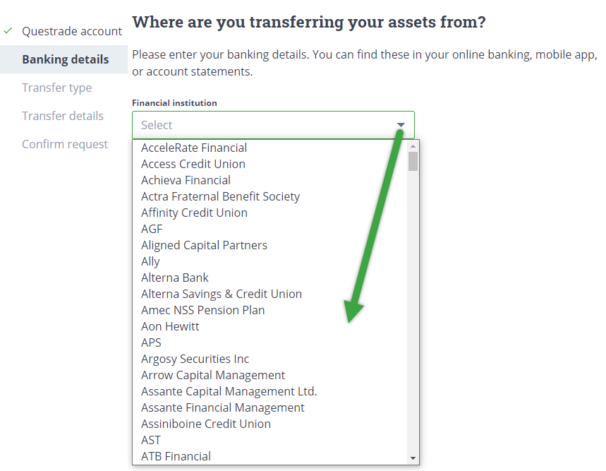 Choose institution for transfer from drop down menu