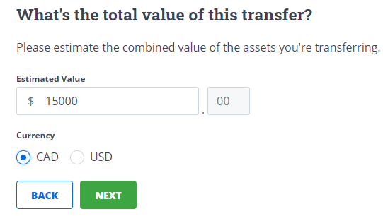 value of transfer field with currency and green next button