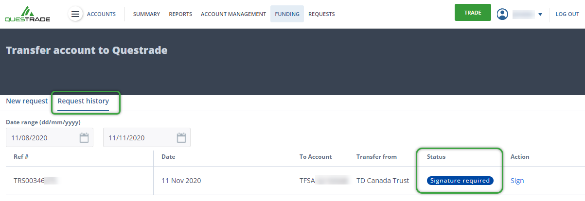 Transfer request history tab with transfer details and updates