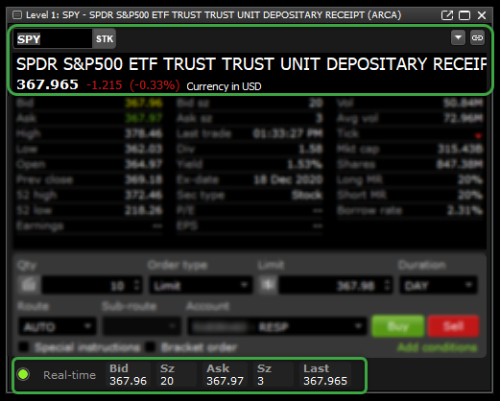 IQ Edge level 1 widget ticker and quote at top highlighted