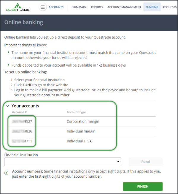 account number highlighted bill payments